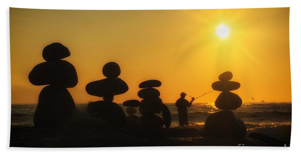Boulders By The Sea Hand Towel