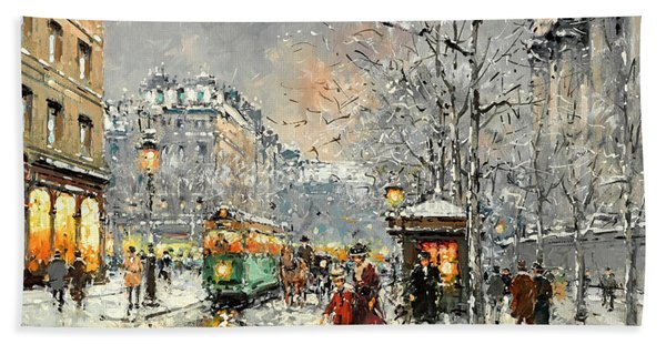 Boulevard Des Capucines Under The Snow, Paris Bath Towel