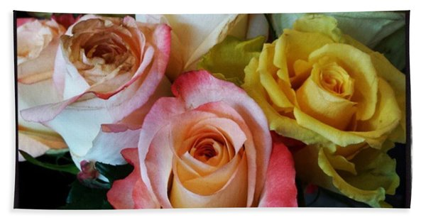 Bath Towel featuring the photograph Bouquet Of Mature Roses At The Counter by Mr Photojimsf