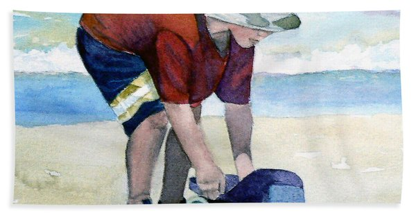 Boy With Truck Hand Towel