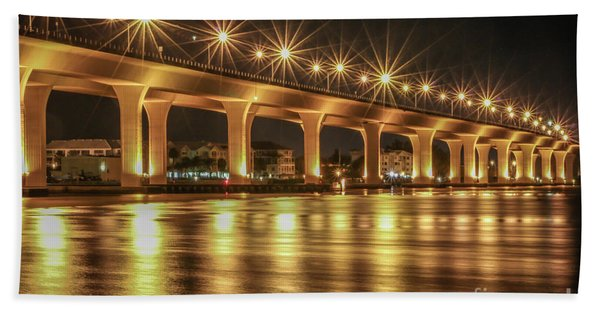Bath Towel featuring the photograph Bridge And Golden Water by Tom Claud