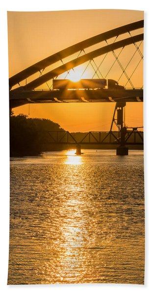 Bath Towel featuring the photograph Bridge Sunrise #2 by Patti Deters