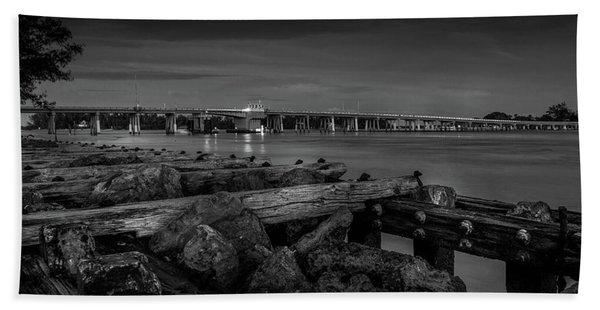 Bridge To Longboat Key In Bw Hand Towel