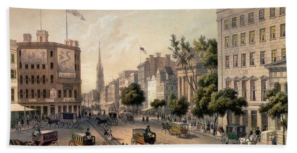 Broadway In The Nineteenth Century Hand Towel
