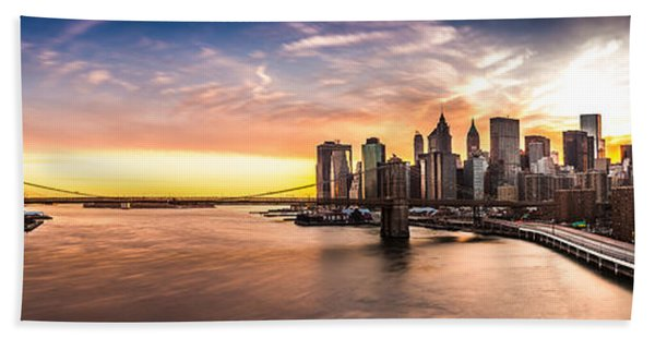 Hand Towel featuring the photograph Brooklyn Bridge Panorama by Mihai Andritoiu
