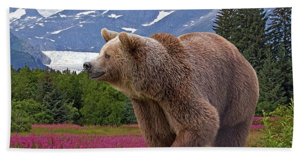 Bath Towel featuring the photograph Brown Bear 2 by Larry Linton