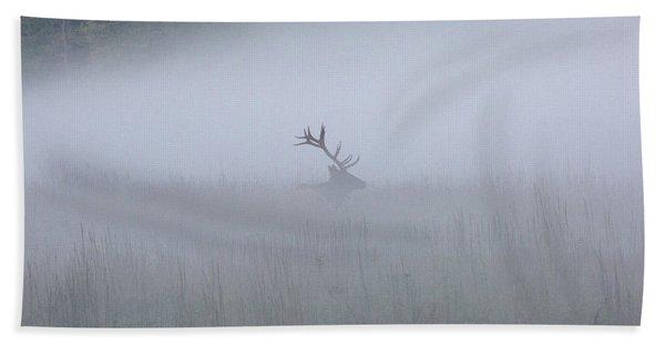 Bull Elk In Fog - September 30, 2016 Bath Towel