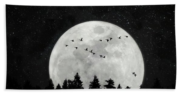By The Light Of The Silvery Moon - Birds  Bath Towel