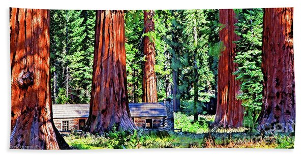 Cabin In Mystical Giant Sequoia Forest Bath Towel