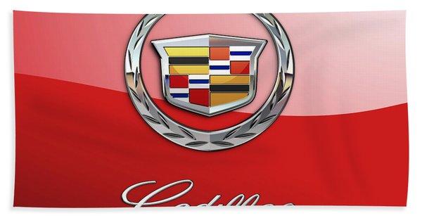 Cadillac - 3 D Badge On Red Bath Towel