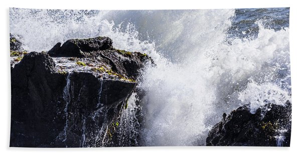 California Coast Wave Crash 6 Hand Towel