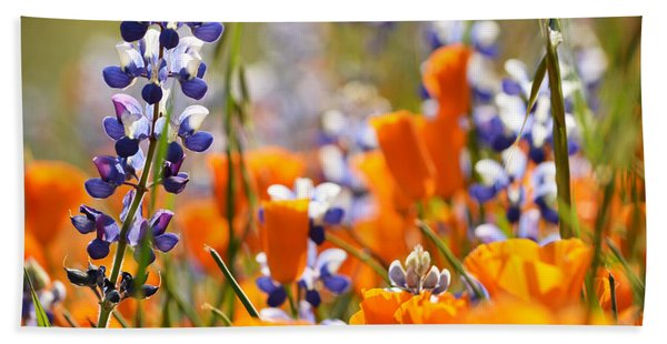 California Poppies And Lupine Bath Towel