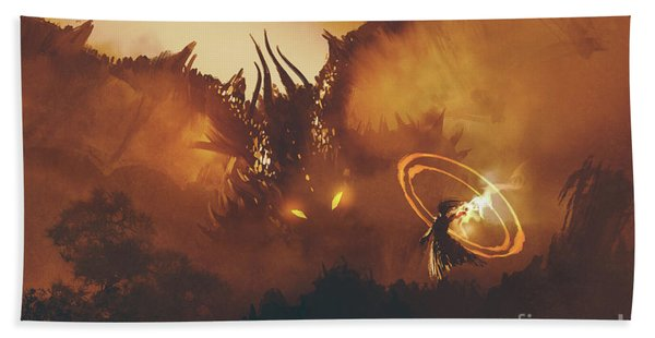 Hand Towel featuring the painting Calling Of The Dragon by Tithi Luadthong