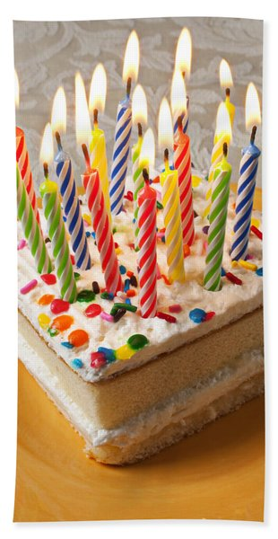Candles On Birthday Cake Hand Towel