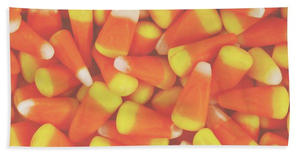Candy Corn Square- By Linda Woods Bath Towel
