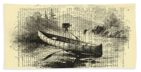 Canoe With Field Camera In Black And White Antique Illustration Bath Towel