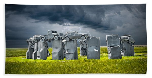 Car Henge In Alliance Nebraska After England's Stonehenge Hand Towel
