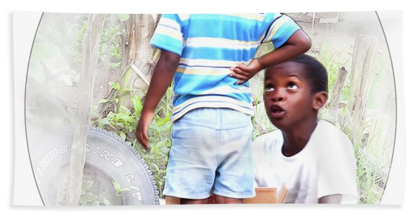 Caribbean Kids Illustration Hand Towel