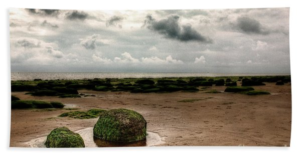 Carstone Rocks On Hunstanton Beach Hand Towel