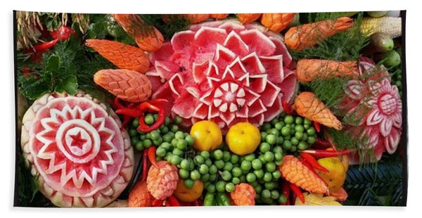 Bath Towel featuring the photograph Carved Watermelon, And I Think Those by Mr Photojimsf