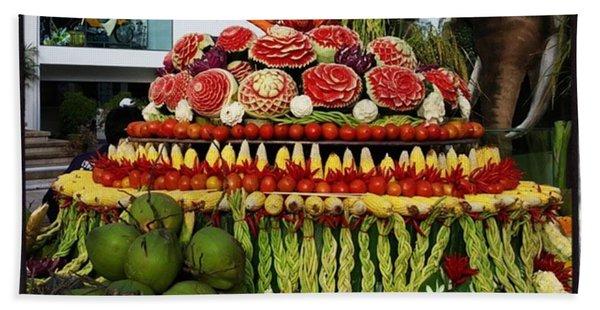 Bath Towel featuring the photograph Carved Watermelon, Surin Elephant by Mr Photojimsf