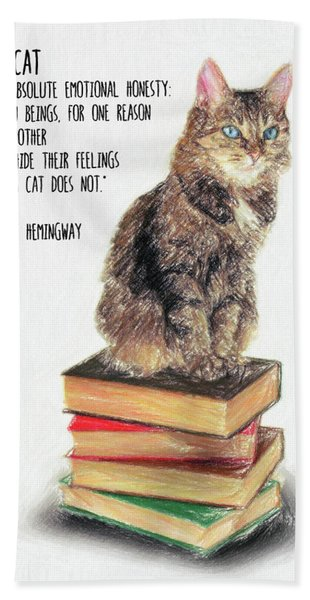 Cat Quote By Ernest Hemingway Hand Towel