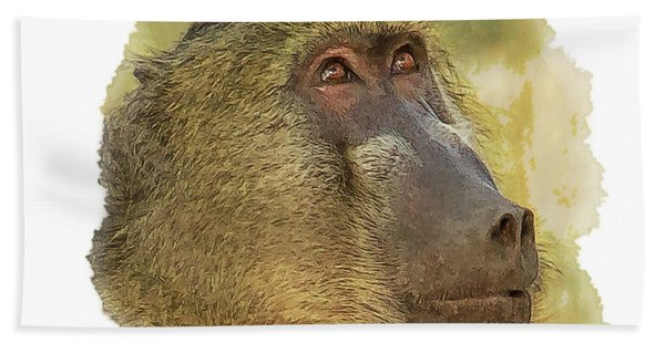 Bath Towel featuring the digital art Chacma Baboon 6 by Larry Linton