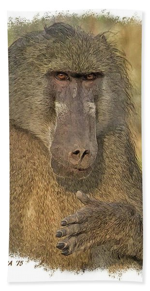 Bath Towel featuring the digital art Chacma Baboon by Larry Linton