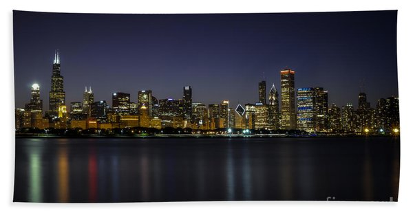 Chicago In Blue Hand Towel