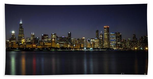 Chicago In Blue Bath Towel