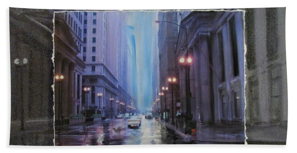 Chicago Rainy Street Expanded Hand Towel