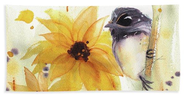 Chickadee And Sunflowers Hand Towel
