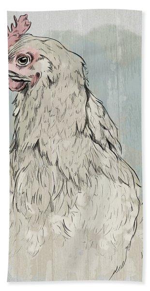 Chicken Portrait-farm Animals Hand Towel
