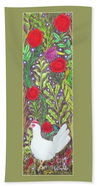 Chicken With An Attitude In Vegetation Bath Towel