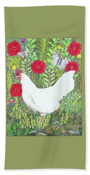 Chicken With Millefleurs And Butterflies  Hand Towel