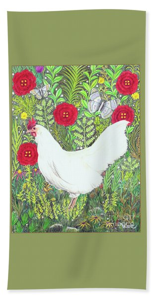 Chicken With Millefleurs And Butterflies  Bath Towel