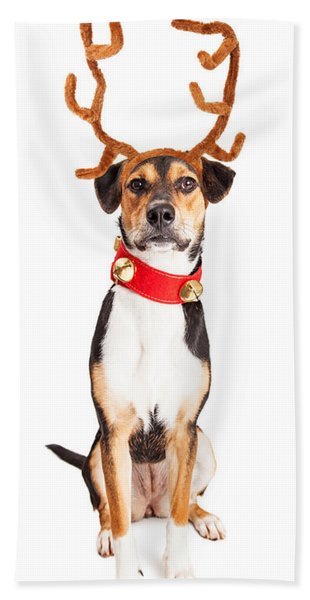 Christmas Reindeer Dog Tall Banner Hand Towel