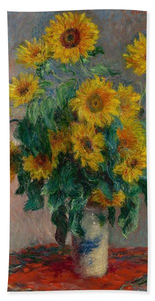 Claude Monet - Bouquet Of Sunflowers - 1881.. Hand Towel