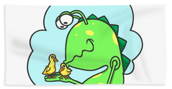Monster Kissing Ducklings Hand Towel