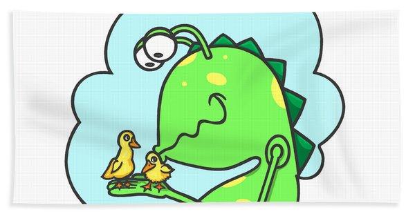 Monster Kissing Ducklings Bath Towel
