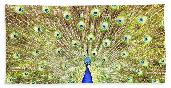 Closeup Of Peacock Displaying Train Hand Towel