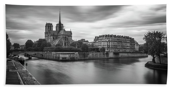 Hand Towel featuring the photograph Cloudy Day On The Seine by James Udall