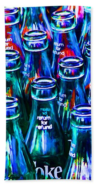 Coca-cola Coke Bottles - Return For Refund - Painterly - Blue Bath Towel