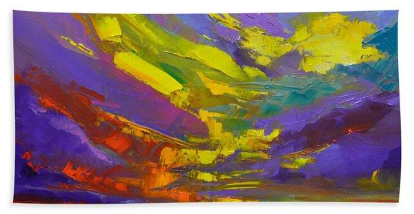 Coloful Sunset, Oil Painting, Modern Impressionist Art Bath Towel