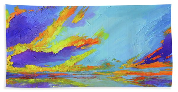 Colorful Beach Sunset Oil Painting  Hand Towel