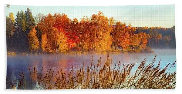 Colorful Dawn On Haley Pond Hand Towel