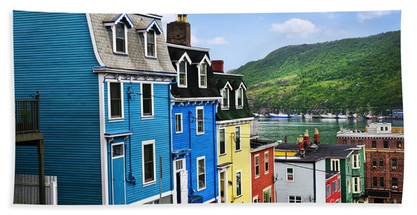 Colorful Houses In St. John's Hand Towel