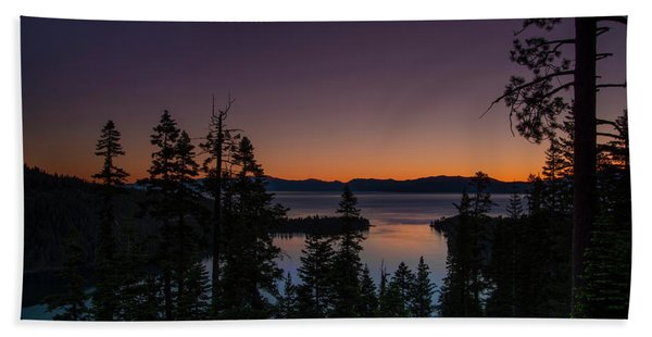 Colorful Sunrise In Emerald Bay Hand Towel