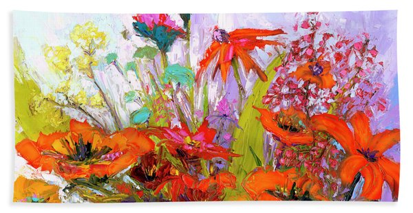 Colorful Wildflowers Bunch, Oil Painting, Palette Knife Bath Towel