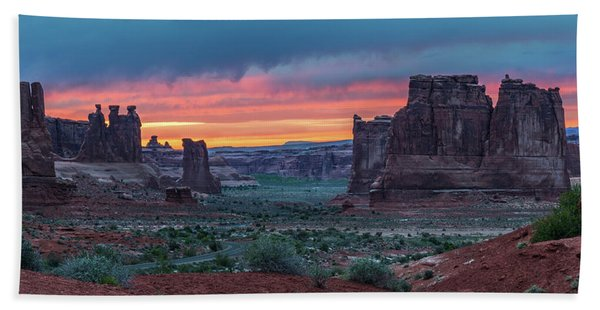 Courthouse Towers Arches National Park Hand Towel